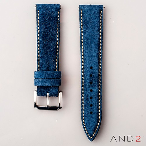 AND2 Kingsley Ocean Blue Suede Leather Strap (Beige Stitching)
