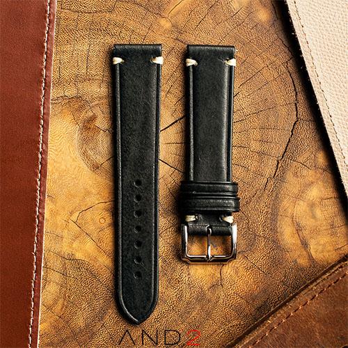 Speedy Black Leather Strap White Stitching