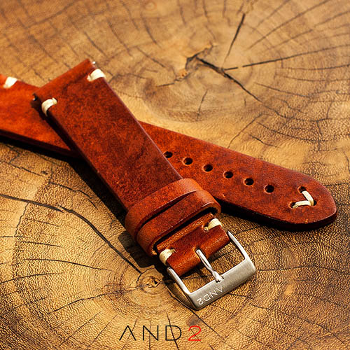 Laguna Medium Brown Leather Strap With Easy Spring Bar 20mm (V-Beige Stitch)
