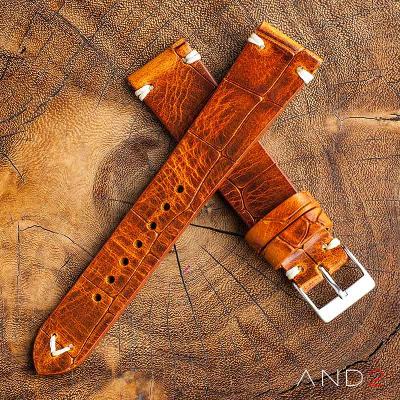 Vintage Cracked Croco Brown Leather Strap 22mm(White V-Stitching)