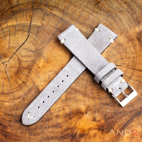Wolly Sky Grey Suede Leather Strap 20mm(White V-Stitching)