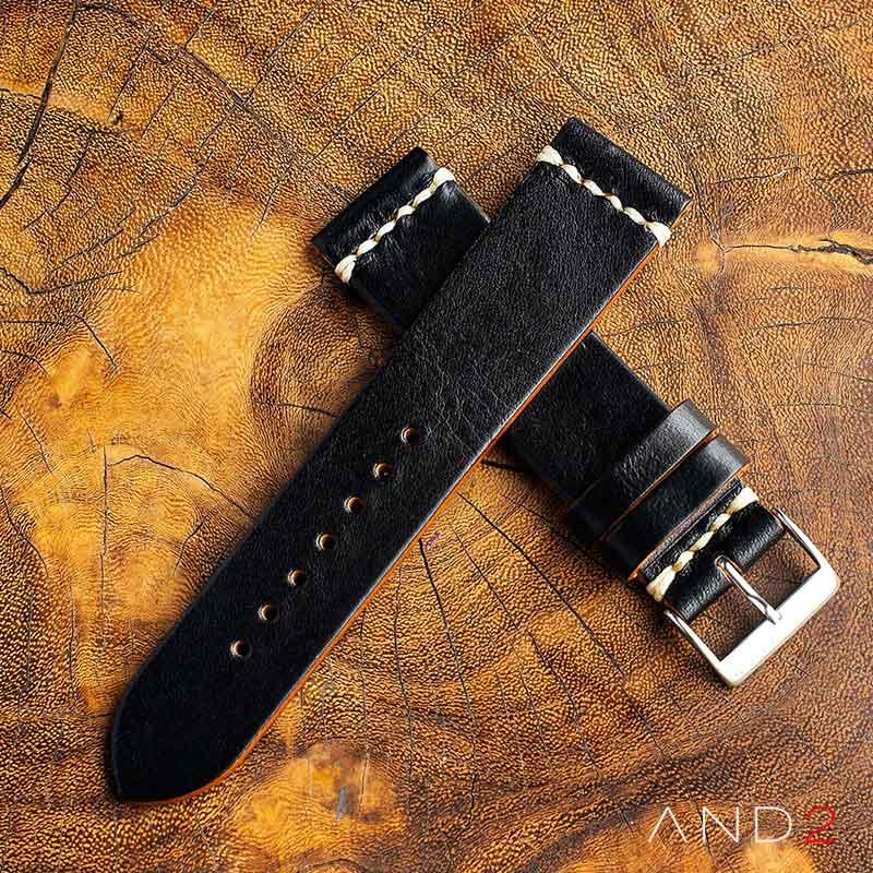 Laguna Black Shell Leather Strap 22mm (White Cross Stitch)