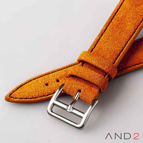AND2 Italian Nubuck Orange Suede Leather Strap 20mm (Black Stitch)