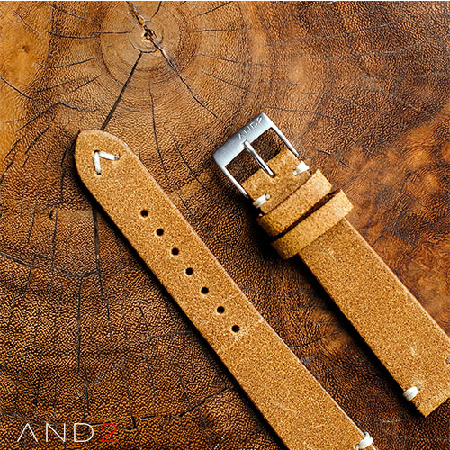Chamonix Dark Gold Leather Strap 19mm (White V-Stitching)