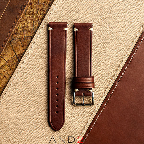 Speedy Chestnut Leather Strap White Stitching