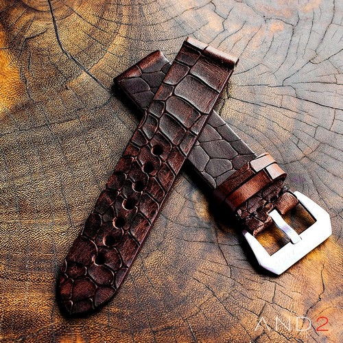 Vintage Cracked Croco Dark Brown leather strap