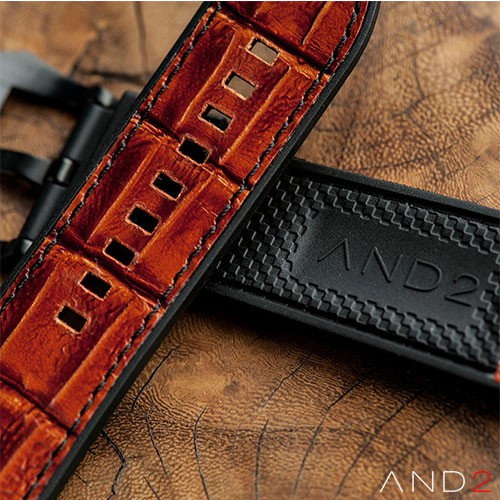 Vintage Calf Brown Alligator with Black Stitching