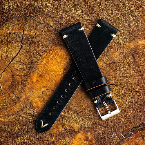 Laguna Black Shell Leather Strap 22mm (White V-Stitching)