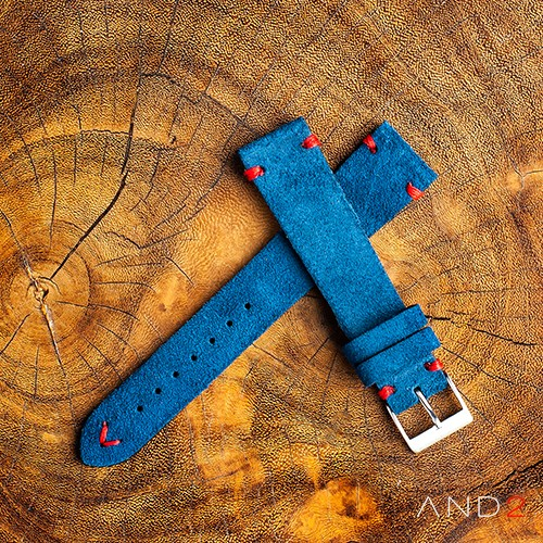 Wolly Ocean Blue Suede Leather Strap 20mm (Red V-Stitching)