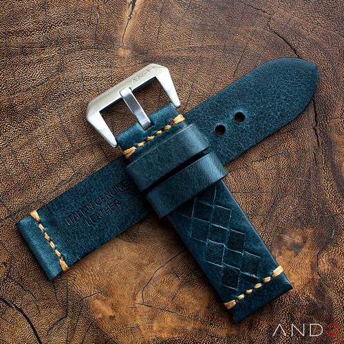Braided Douglas Blue Leather Strap with Beige Stich