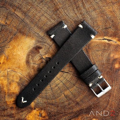 Chamonix Vintage Dark Chocolate Leather Strap 20mm (White V-Stitching)