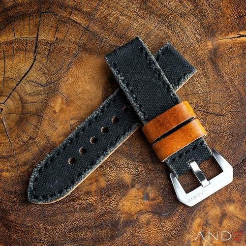 MILI Black Canvas strap with Black Stitch
