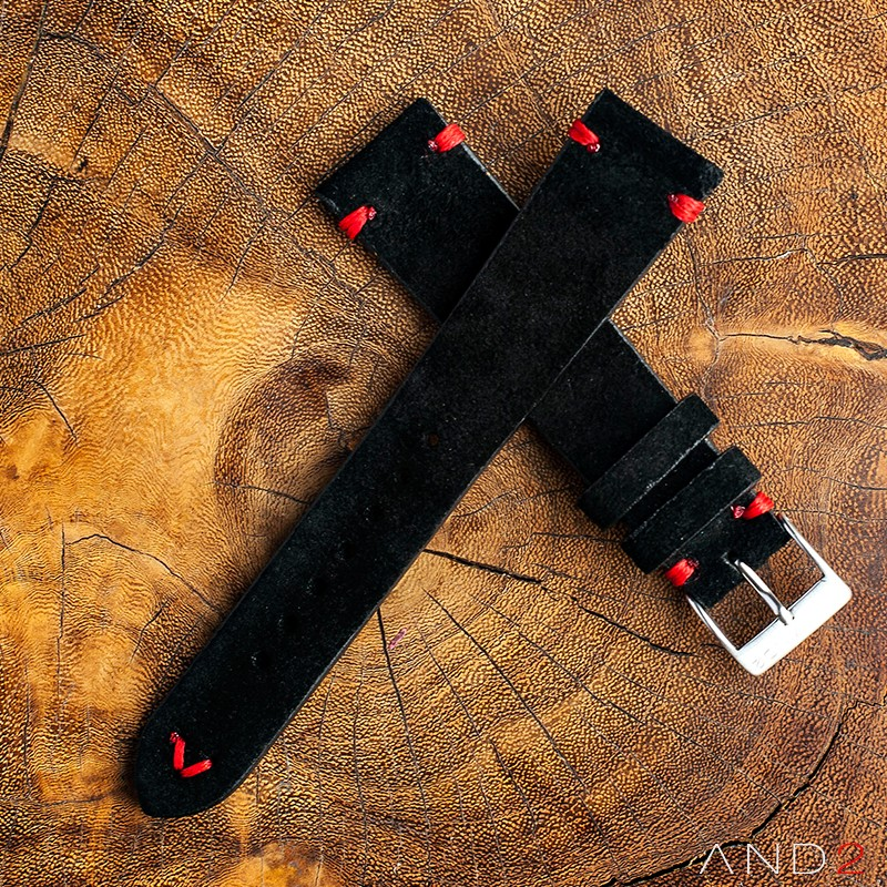 Wolly Diablo Suede Black Leather Strap 19mm (Red V-stitching)