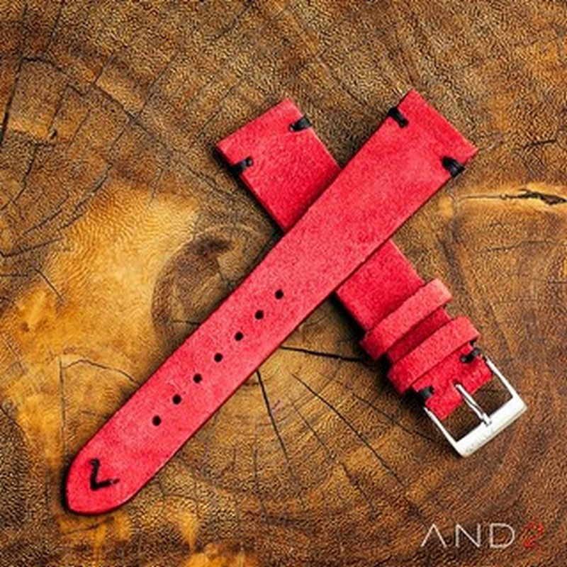 Wolly Crimson Red Suede Leather Strap 19mm (Black V- Stitching)