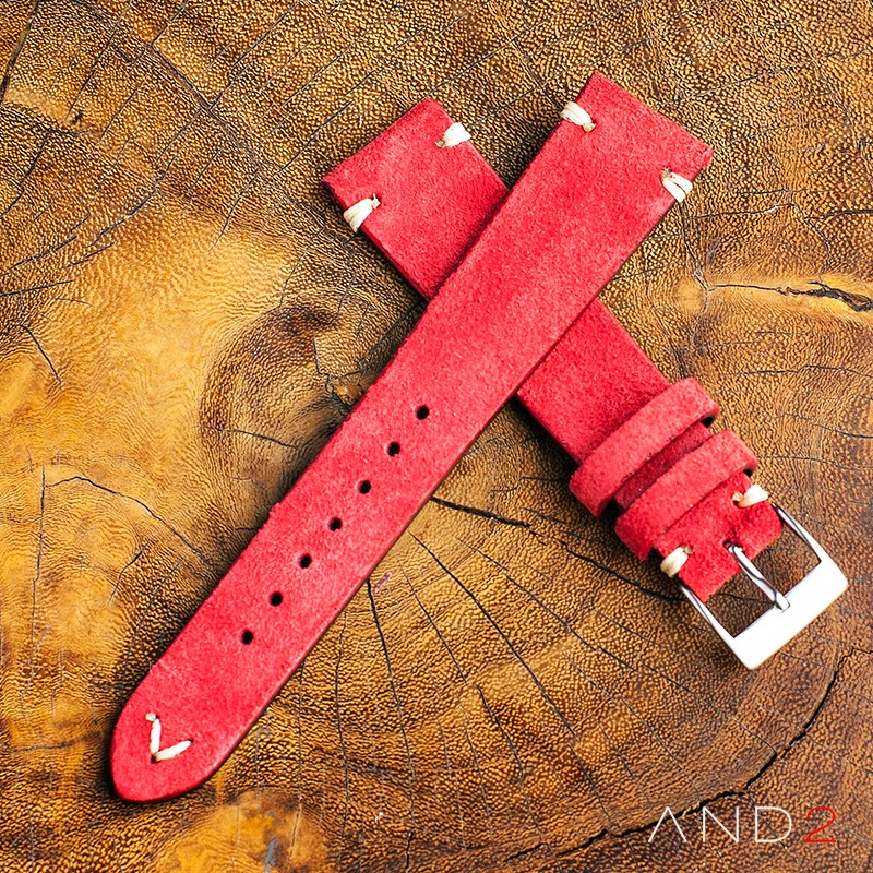Wolly Crimson Red Suede Leather Strap 19mm (White V-Stitching)