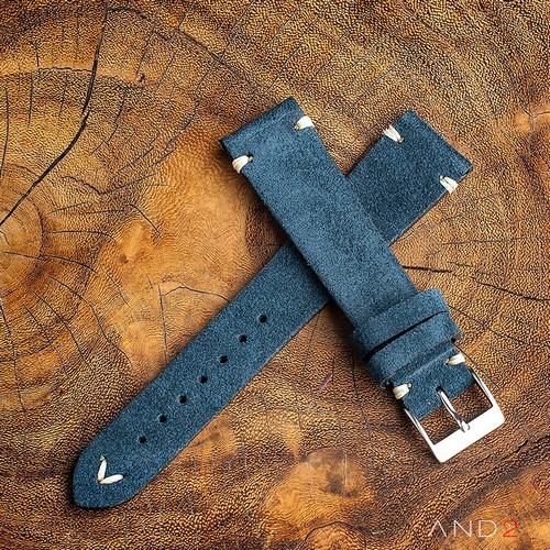 Wolly Ocean Blue Suede Leather Strap 19mm (White V-Stitching)