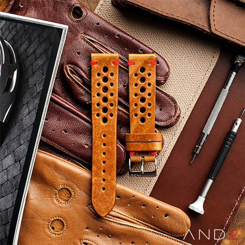 Speedy Racing Cognac Leather Strap (Red Stitching)