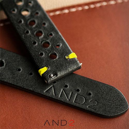 Speedy Racing Blackout Leather Strap (Yellow Stitching)