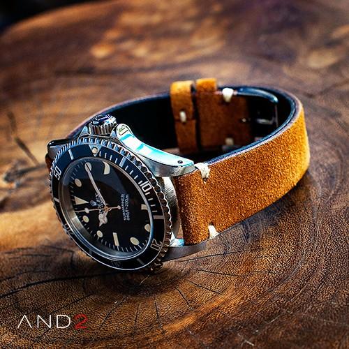 Wolly Medium Brown Suede Leather Strap 20mm (White V-Stitching)