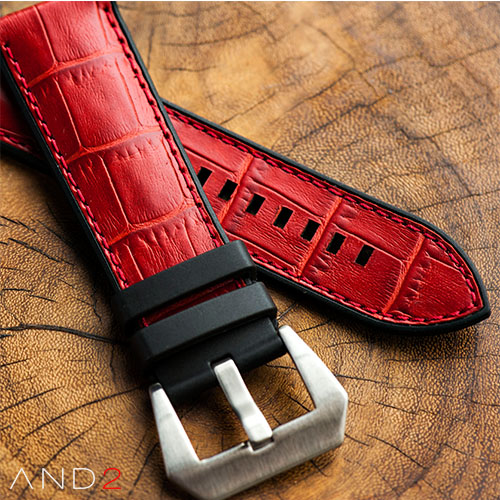 Calf Red Croco with Matching Stitching