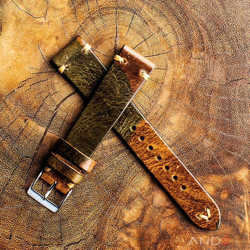 Military Camo Leather Strap 19mm(Dark Gold V-Stitching)