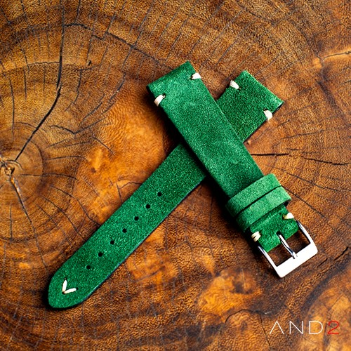 Wolly Green Forest Suede Leather Strap 19mm (White V-Stitching)