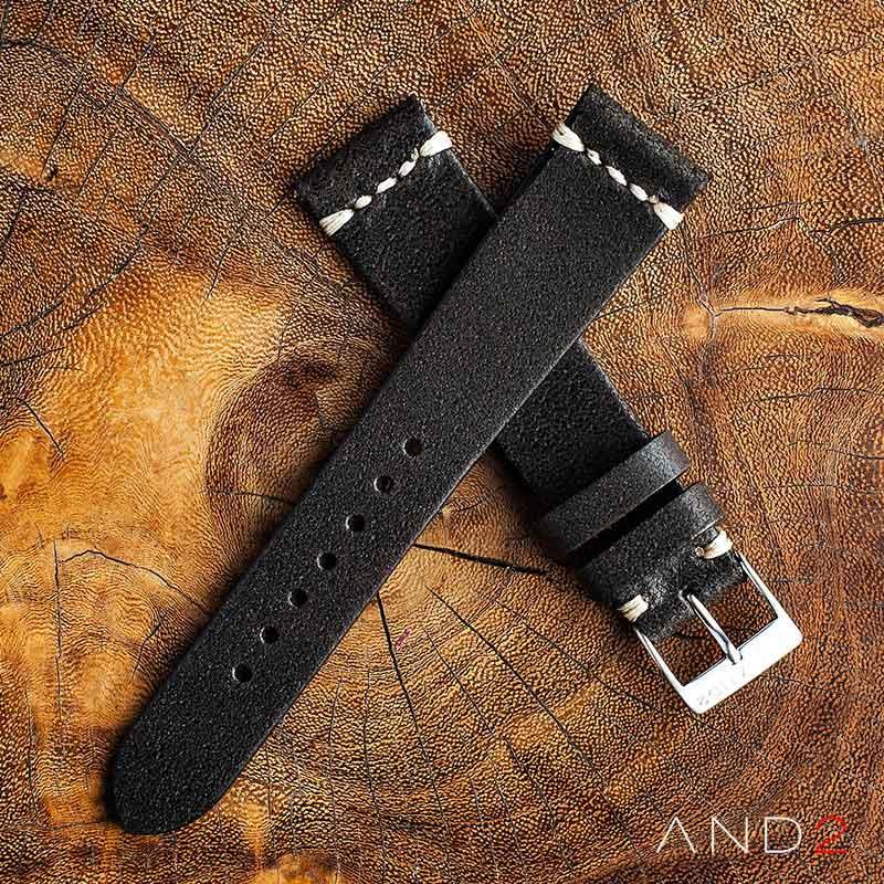 Chamonix Vintage Dark Chocolate Leather Strap 19mm (White Cross Stitching)