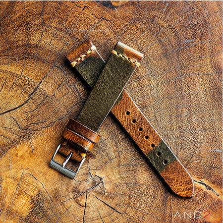 Military Camo Leather Strap 19mm (Dark Gold Cross Stitching)