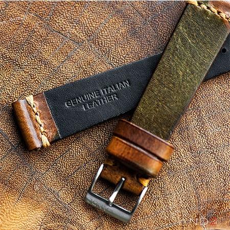 Military Camo Leather Strap 19mm (Dark Gold Cross Stitching)