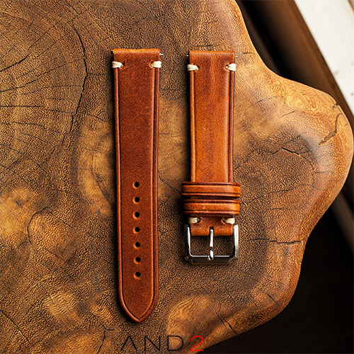 Speedy Cognac Leather Strap White Stitching