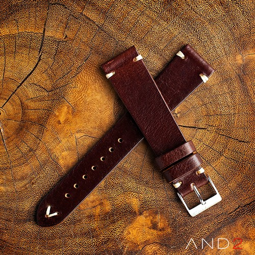 Laguna Night Brown Leather Strap 20mm (White V-Stitching)
