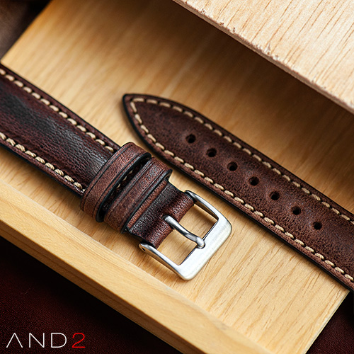 Kingsley Chocolate Leather Strap 20mm