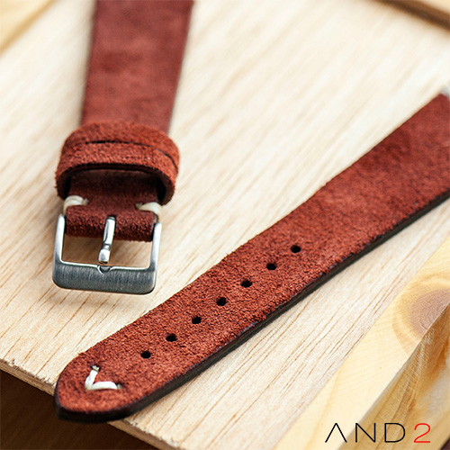 Wolly Nutella Brown Suede leather Strap 20mm(White V-stitch)