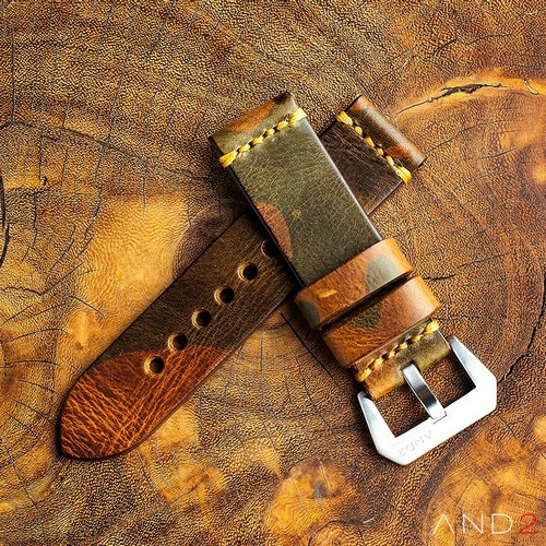 Military Camo Leather Strap 24mm