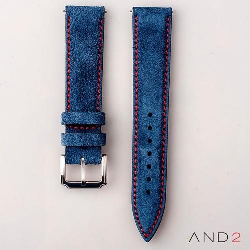 AND2 Kingsley Ocean Blue Suede Leather Strap (Red Stitching)