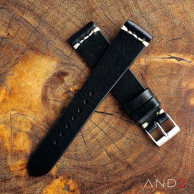 Laguna Black Leather Strap 19mm (White Cross Stitching)