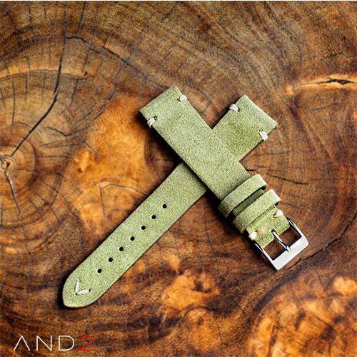 Wolly Olive Green Suede Leather Strap 20mm (White V-Stitching)