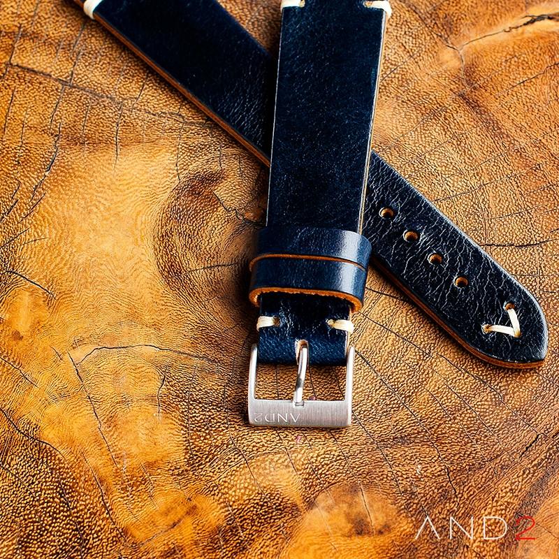 Laguna Navy Blue Leather Strap 22mm(White V-Stitching)