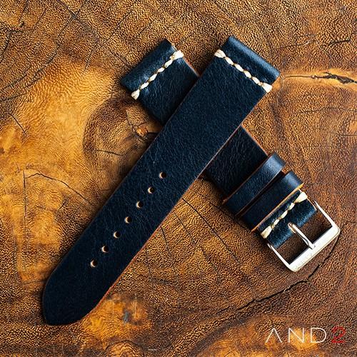 Laguna Navy Blue Leather Strap 22mm(White Cross Stitching)