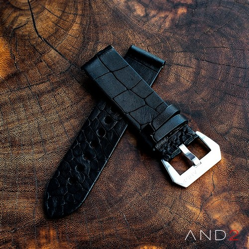 Vintage Cracked Croco Black Leather 24mm