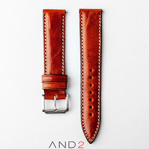 Kingsley Chesnut Leather Strap 20mm (Beige Stitch)