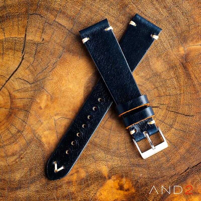Laguna Navy Blue Leather Strap 19mm (White V-Stitching)