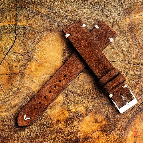 Wolly Coffee Brown Suede Leather Strap 20mm (White V-Stitching)