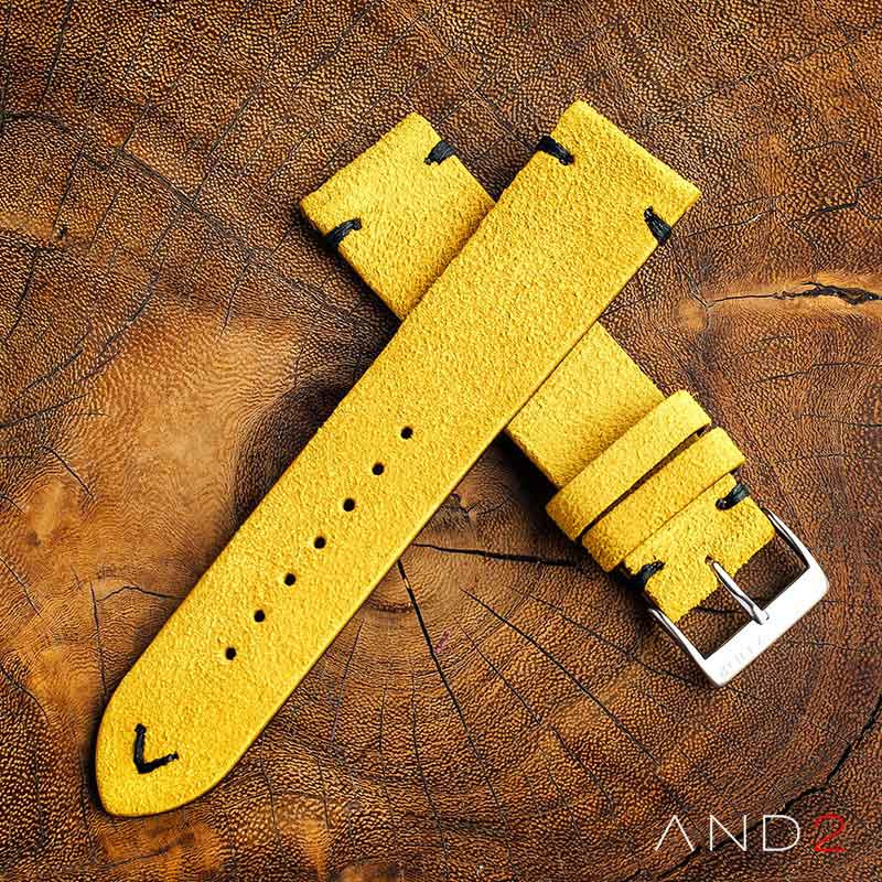 Wolly Irish Yellow Suede Leather Strap 22mm(Black V-stitching)