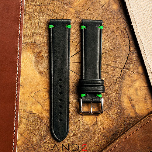 Speedy Black Leather Strap Green Stitching