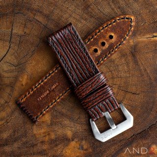 Two Tone Brown Shark strap with Black Stiching