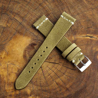 Chamonix Brass Leather Strap 20mm (White Cross Stitching)