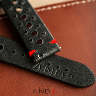 Speedy Racing Blackout Leather Strap (Red Stitching)