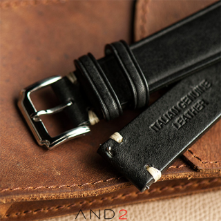 Speedy Black Leather Strap White Stitching