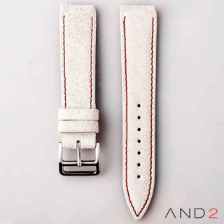 AND2 Italian Nubuck White Suede Leather Strap 20mm (Red Stitching)